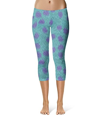 Sully Fur Monsters Inc Disney Inspired Sport Leggings - Capri Length, Mid/High Waist -