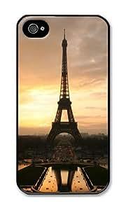 LYNNART Iphone 4S Paris Eiffel Tower Sunset Glow Theme Phone Hard Case For Iphone 4S PC Black