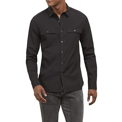 Kenneth Cole New York Men's Long Sleeve Button Down Shirt, Black, X-Large - Kenneth Cole Long Sleeve Dress Shirt