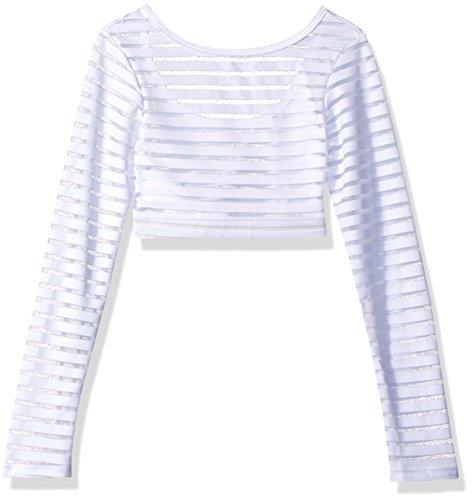 Gia Mia Dance Big Girls' Stripe Mesh Top Dance Ballet Jazz Long Sleeve Layering Costume Performance, White, (Dance Costumes For Girls 2016)