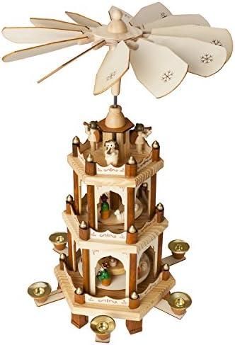 BRUBAKER Kerstpiramide Houten PiramideNatuur3 Niveaus45 Cm HoogteHandbeschilderde Figuren