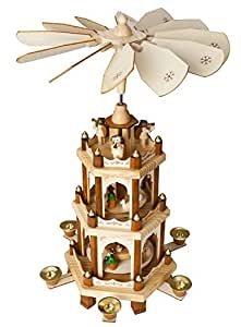 Christmas Decoration Pyramid 18 Inches Nativity Play 3 Tier Carousel with 6 Candle Holders - Brubaker Design From Germany