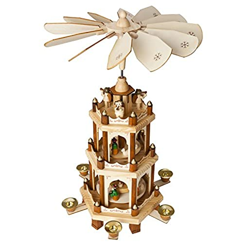christmas decoration pyramid 18 inches nativity play 3 tier carousel with 6 candle holders brubaker design from germany