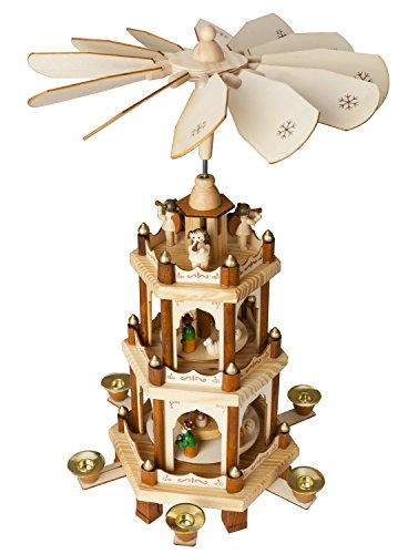 Christmas Decoration Pyramid 18 Inches Nativity Play 3 Tier Carousel with 6 Candle Holders - Brubaker Design From - Nativity Scene Vintage