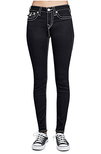 True Religion Womens Super Skinny Big T Natural Stitch Jeans with Flaps in Body Rinse Black
