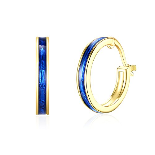 New! 14K Gold Plated Nice Enamel Hoop Earrings For Womens Girls Blue & Red Colors (Blue)