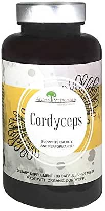 Aloha Medicinals - Pure Cordyceps - Certified Organic Cordyceps - Supports Immunity, Energy and Stamina - 525mg - 90 Vegetarian Capsules