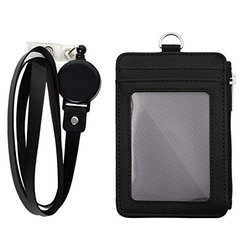 "Badge Holder with Zipper, ID Card Holder Wallet with 5 Card Slots, 1 Side Pocket and 20"" Retractable Neck Lanyard-Black"