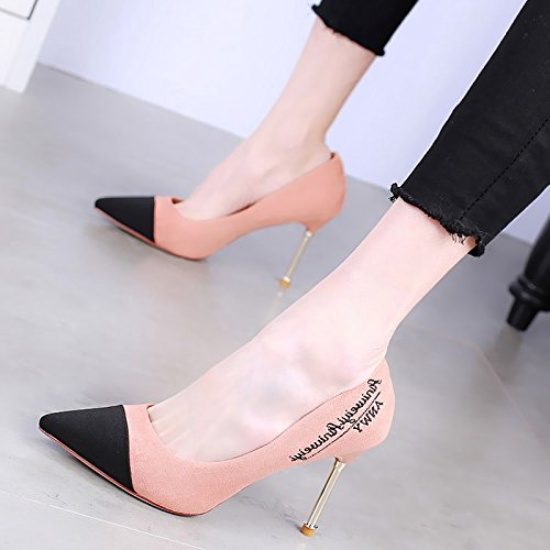 Shoes Metal Shoe Heeled Women'S Fine Spring Jigsaw Single Female KPHY Pointed Mouth 9Cm High Heel Pink Shallow Matching Sexy Color Shoes 67xtnwPtqU