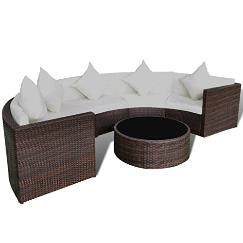 Festnight Garden Sofa Set Half-round Conversation Set Poly Rattan with Cushions & pillows, Brown