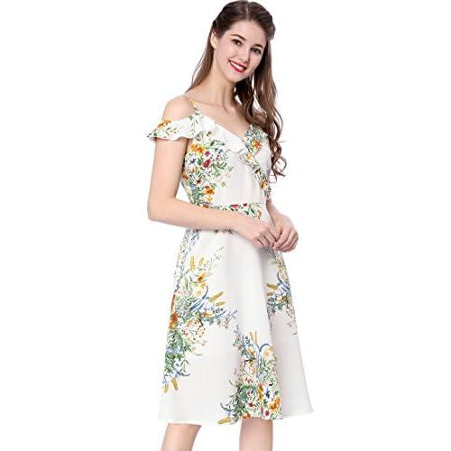 Allegra K Women's Ruffle Floral Print Cold Shoulder Midi Cocktail Dress hot sale