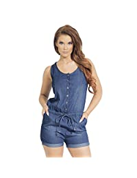 Women's Scoop Neck Button Front Sleeveless Denim Shorts Romper with Pockets