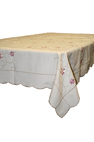 Violet Linen New Orleans Embroidered Design Tablecloth, 70