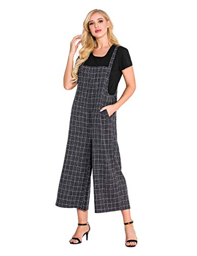 TEARMER Fashion Womens Onepiece Casual Cotton Long Loose Suspender Solid Color Jumpsuits Overall (M, Navy-B) from TEARMER