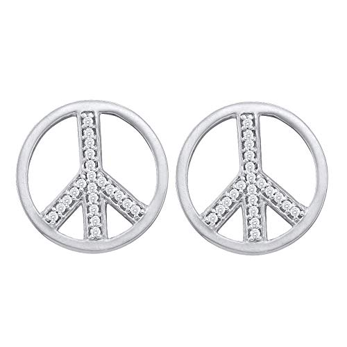 Earring Sign Diamond Peace Gold - Mia Diamonds 10kt White Gold Womens Round Diamond Peace Sign Stud Earrings (.15cttw) (I2-I3)