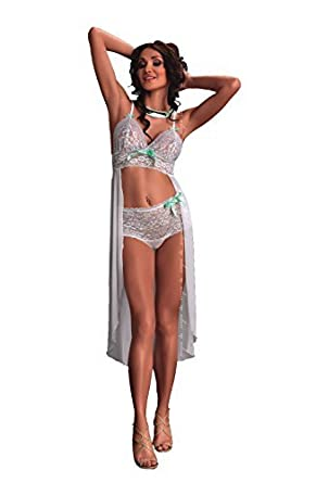 sexy blanc mariée dentelle Long arrière Soutien-gorge rétro taille haute  Slip Slip lune de b7447644911