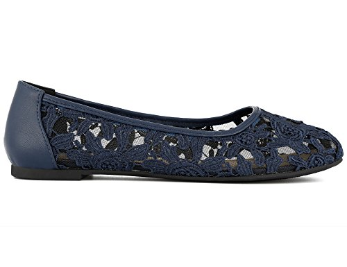Shoes Out Synthetic Women Flats Navy On Lace Greatonu Slip Cut Ballet 7qt6nY5