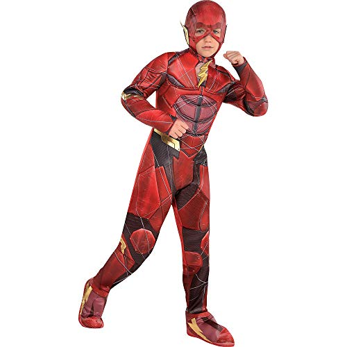 Costumes USA Justice League Part 1 The Flash Muscle Costume for Boys, Size Medium, Includes a Jumpsuit and a Headpiece