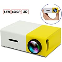 LED Projector,MUEQU 1080P Full HD Mini Cinema Projector Portable Home Cinema Theater with USB/SD/AV/HDMI and Remote Control,Pocket Projector for Video/Movie/Games (Yellow)