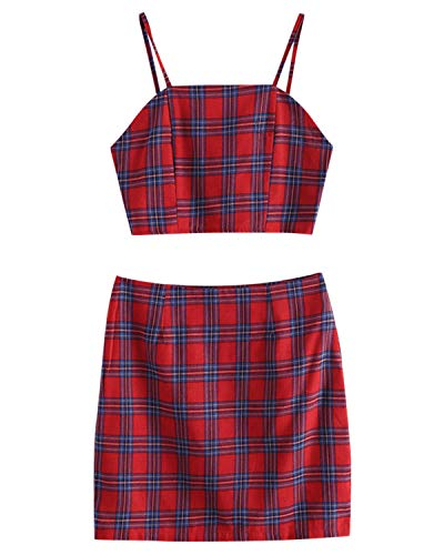 ZAFUL Womens Smocked Back Cami Plaid Mini Skirt Set Crop Top 2 Piece Outfit Dress(Red,S) ()