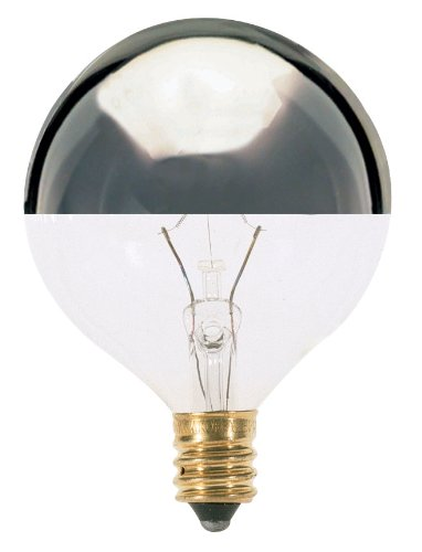 Satco S3244 120V Candelabra Base 25-Watt G16.5 Light Bulb, Silver (Silver Crowns Design)