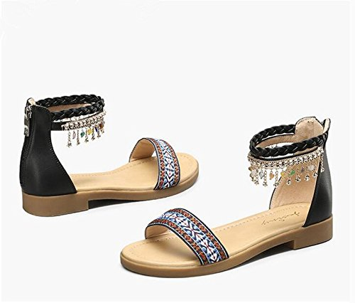 Moda Mujer verano sandalias confortables tacones altos,38 gold Black