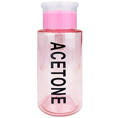PANA Brand 7oz. (Quantity: 1 Pieces) Acetone Labeled Liquid Push Down Pump Dispenser Bottle (Pink)