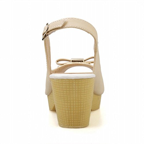 Carol Shoes Sweet Womens Buckle Peep-toe Cute Candy Color Bows Fashion Platform Chunky Mid Heel Sandals Beige sQZQj