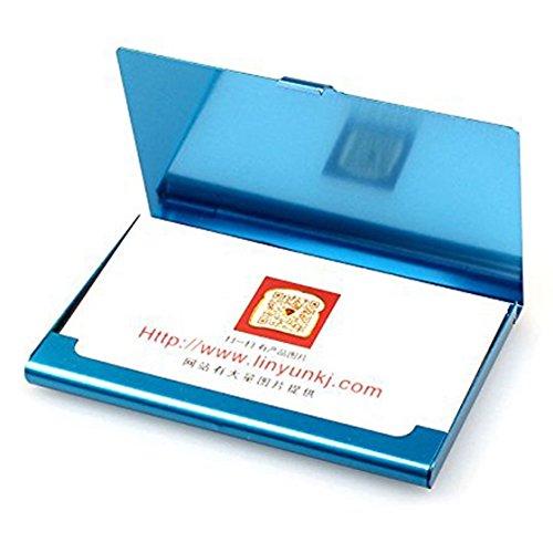 SODIAL Porte-cartes de visite en acier inoxydable Couverture de boite en metal utile creative pour la Carte de visite Portefeuille (Noir)