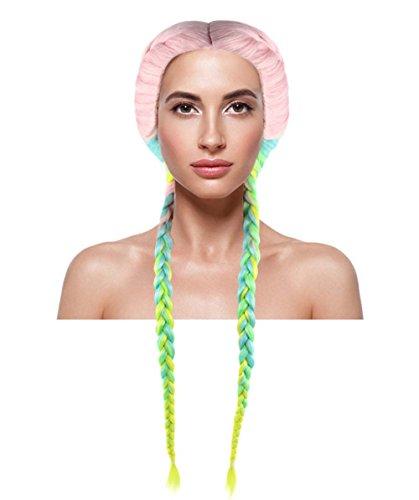 Celebrity Boxer Braid Wig, Rainbow Adult HW-1384 (Kim Kardashian's Halloween Costumes)
