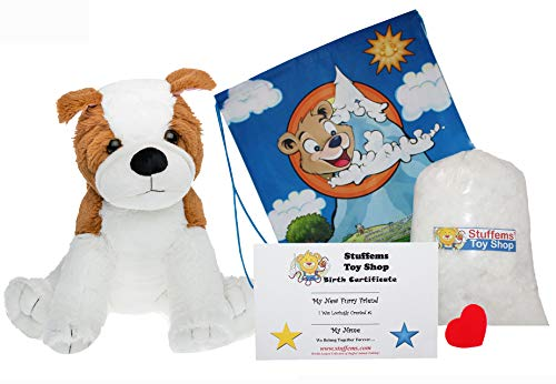 Make Your Own Stuffed Animal 16 Inch Bulldog No Sew - Kit with Cute Backpack!
