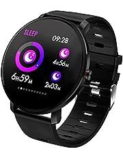 l b s Smart Watch K9 vattentät rund fitnessmätare, puls- och blodtrycksmätare stegräknare herr- och dammode smart armband – för iOS och Android (svart)