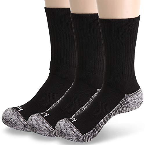YOUNEEDTHAT Work Cushion Crew (3 Pairs) BLK/LG -Mens Athletic Crew Socks
