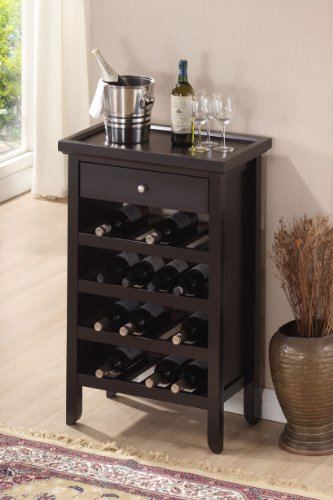 Roundhill Furniture Wood Wine Cabinet with Serving Tray, Espresso Satin Nickel Wine Bottle