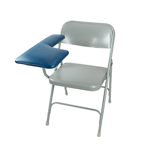 Trail Med Manufacturing Portable Mobile Folding Blood Draw Phlebotomy Chair with Extra-Wide Upholstered Light Grey Medical Vinyl Padded Draw Arm.