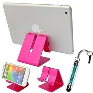 No1accessory rosa duro soporte de escritorio de acero estación de acoplamiento Dock para Samsung Galaxy S4Mini GT I9195con lápiz capacitivo