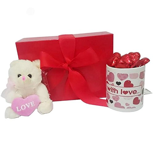 Mother's Day Gift Set with Mug and Pink Teddy Bear and Heart Chocolates in Scarlet Gift Box ()