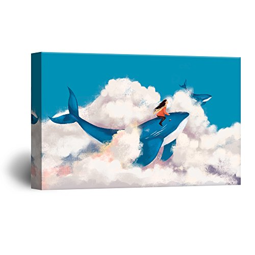 Hand Drawing Style Mystical Girl Flying with Blue Whales Above The Clouds