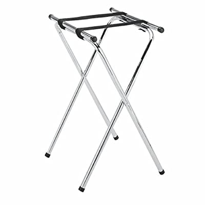 New Star Foodservice 20007 Chrome Plated Double Bar Folding Tray Stand, 31-Inch