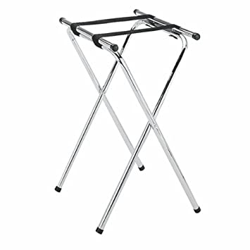 New Star 20007 Mirror Chrome Finish Double Bar Folding Tray Stand, 31 Inch,
