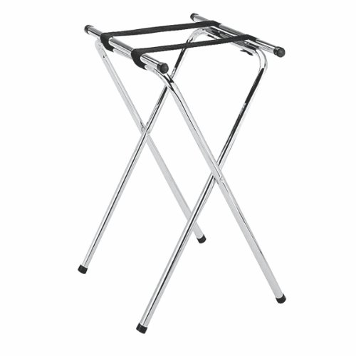 New Star 20007 Mirror Chrome Finish Double Bar Folding Tray Stand, 31-Inch, Silver
