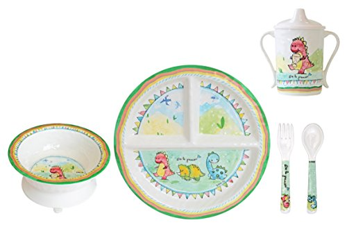 Baby Cie Melamine Plate, Sippy Cup, Bowl, Fork & Spoon, 5 Piece Set - Be The Leader