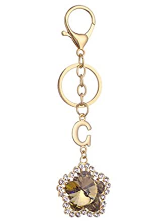Giftale Flower Keychain for Women Cute Bag Charms Crystal Rhinestone Pendant Car Key Ring