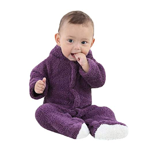 - Sunhusing Newborn Infant Baby Boys Girls Solid Color Plush Long Sleeve Cartoon Hooded Romper Keep Warm Jumpsuit Purple