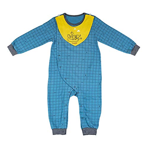 Infant Boys and Girls Checkered Romper Onesies Cotton Pajamas with Bib Towel Long Sleeve Newborn Coverall Onesie Long Sleeve 3-6 Month Size ()
