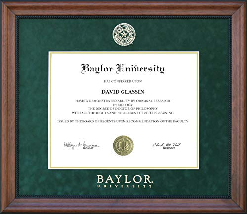 Wordyisms Baylor Diploma Frame with Gold Embossed Seal and Logo