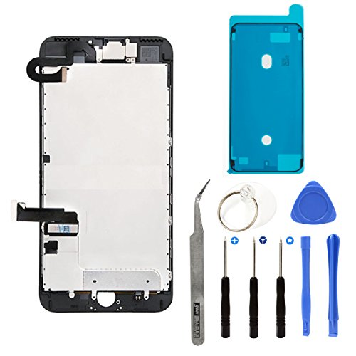 Full Screen Replacement LCD 3D Touch Assembly Front Camera Ear Speaker Shield Plate with Frame Adhesive and Repair Tools for iPhone 7 Plus 5.5 inch (Black)