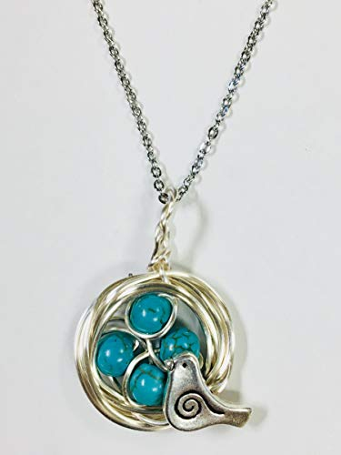 Robins Nest or Bird's Nest Pendant with 4 Turquoise Eggs on a 24 inch stainless steel link chain