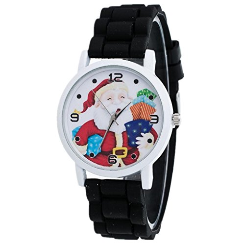 [AMA(TM) Children Christmas Santa Silicone Band Wrist Watch Xmas Gifts (Black)] (Kids Natural Leopard Costumes)