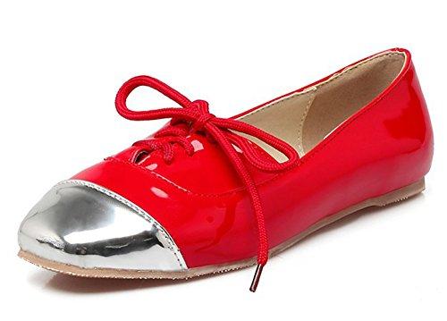 Lace Red Fashion Flats Square Mofri Toe Block Women's Shoes up Color YqHPwBf